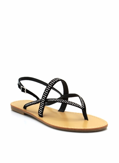 Embellished Strappy Thong Sandals