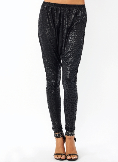 Embossed Leopard Drop Crotch Pants