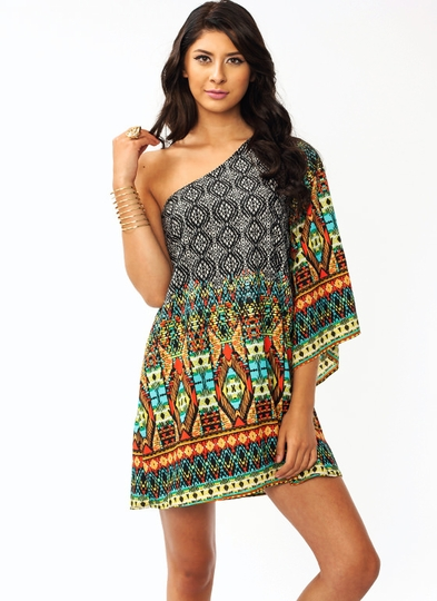 Exotic Tribal Asymmetrical Dress