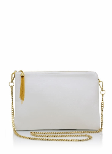 Exposed Tassel Zipper Clutch