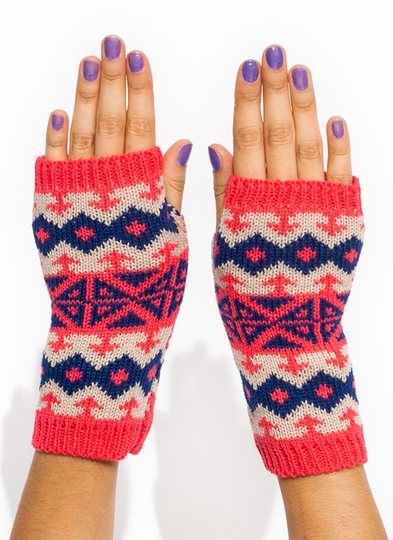 Fair Isle Knit Fingerless Mittens