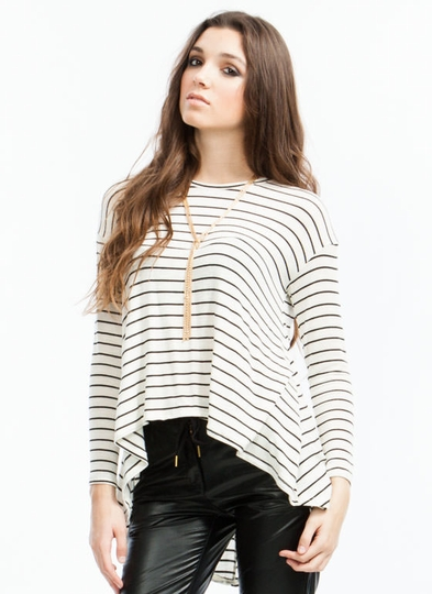 Fall Into Lines High-Low Sweater