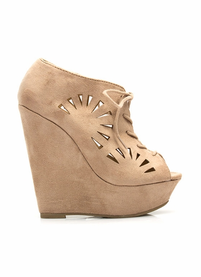 Fan Out Faux Suede Bootie Wedges