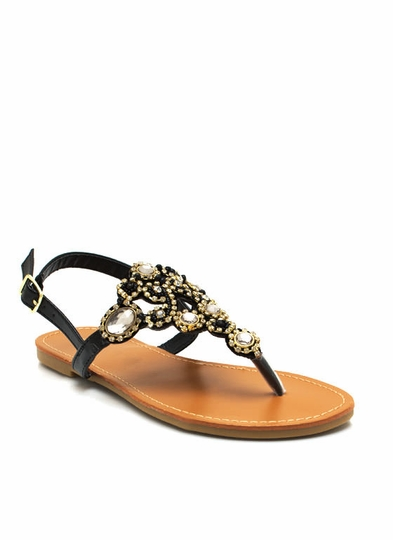 Faux Jewel Slingback Sandals