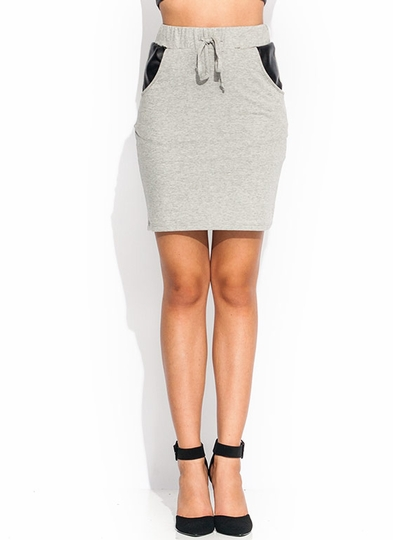 Faux Leather Accent Sweat Skirt