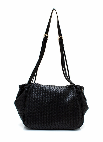 Faux Leather Basket Weave Bag
