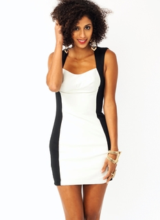 Faux Leather Contrast Bodycon Dress