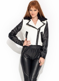 Faux Leather Contrast Greaser Jacket