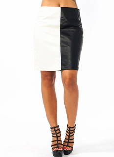 Faux Leather Contrast Skirt