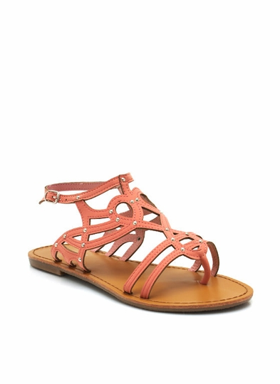 Faux Leather Cut-Out Sandals
