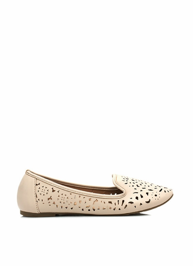 Faux Leather Cut-Out Smoking Flats