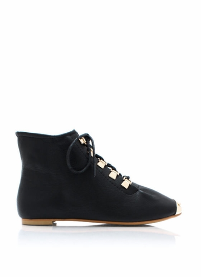 Faux Leather D Ring Ankle Boots