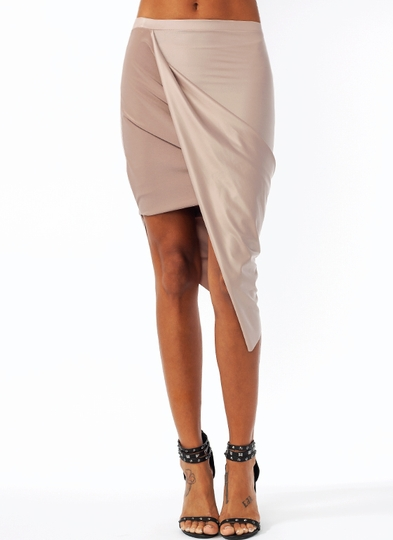 Faux Leather Draped Skirt