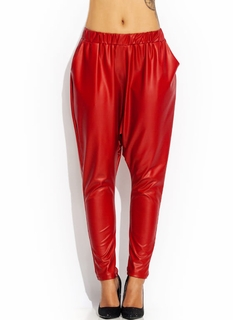 Faux Leather Drop Crotch Pants