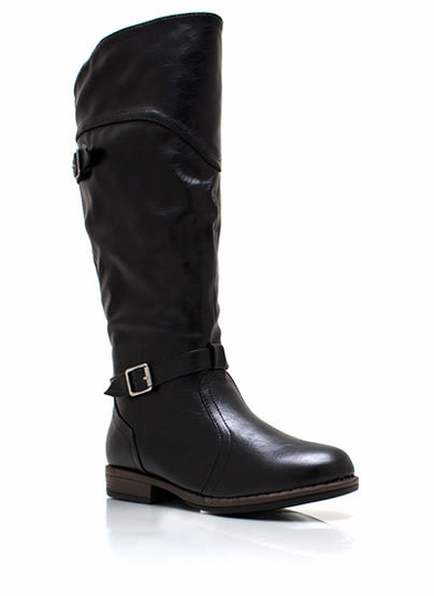 Faux Leather Equestrian Boots