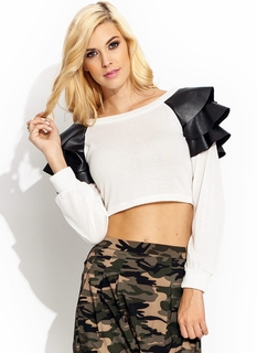 Faux Leather Flutter Sleeve Top