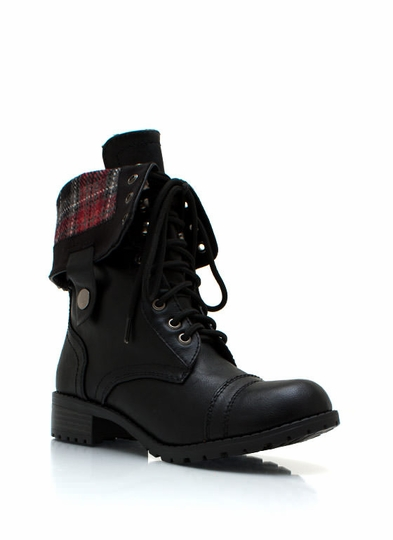 Faux Leather Full Combat Boots