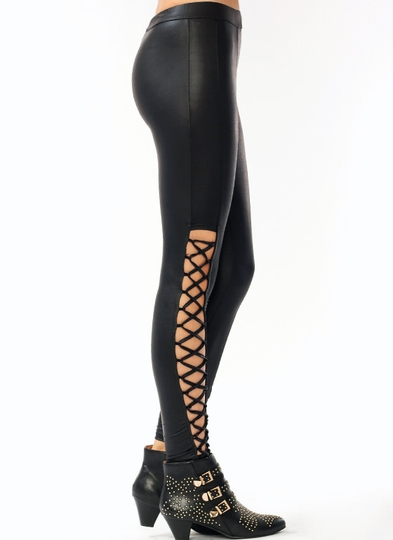 Faux Leather Lace-Up Leggings