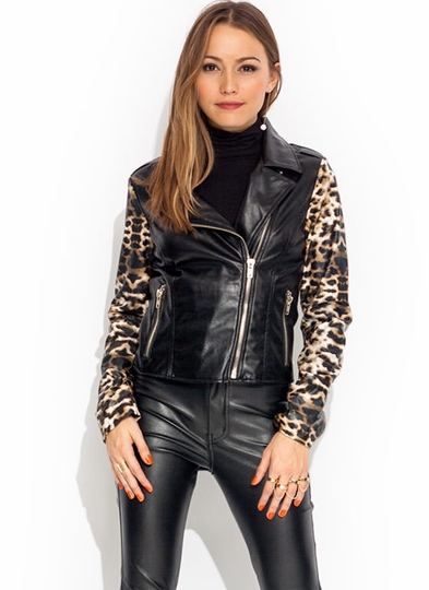Faux Leather Leopard Moto Jacket