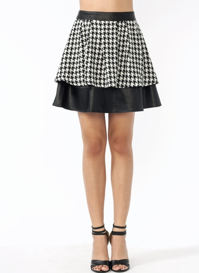 Faux Leather N Houndstooth Skirt