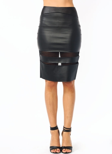Faux Leather N Mesh Pencil Skirt