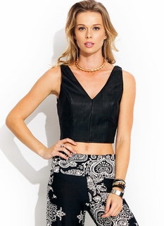 Faux Leather Outlaw Cropped Tank