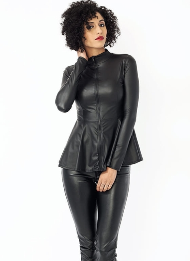 Faux Leather Peplum Zip-Up Top