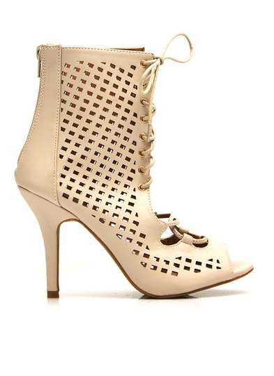 Faux Leather Perforated Cut-Out Heels