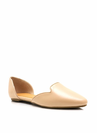 Faux Leather Pointy Toe Flats