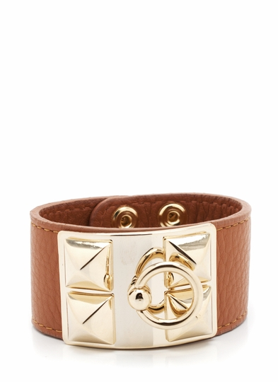 Faux Leather Pyramid Stud Bracelet