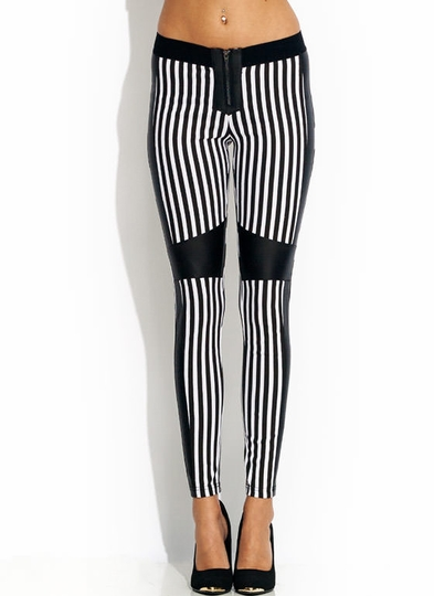Faux Leather Real Stripes Skinny Pants