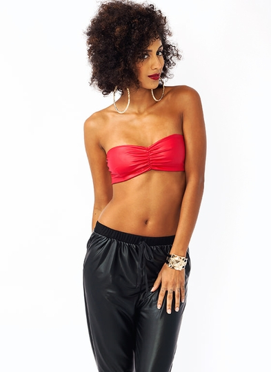 Faux Leather Ruched Bandeau