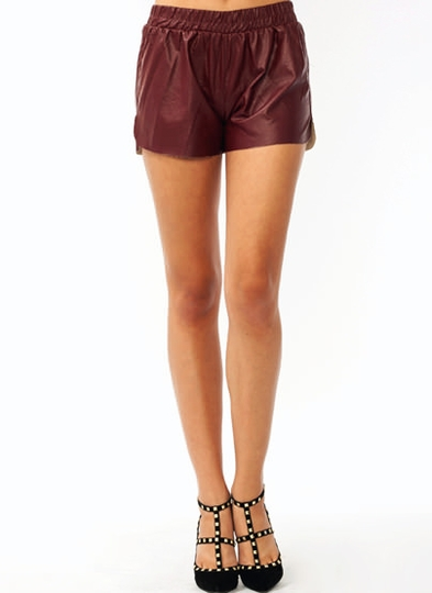 Faux Leather Sporty Shorts