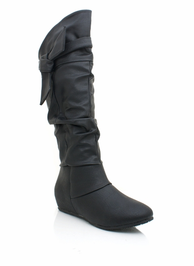 faux leather strappy boot
