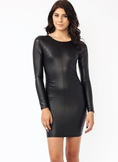 Faux Leather Traffic Ruche Dress