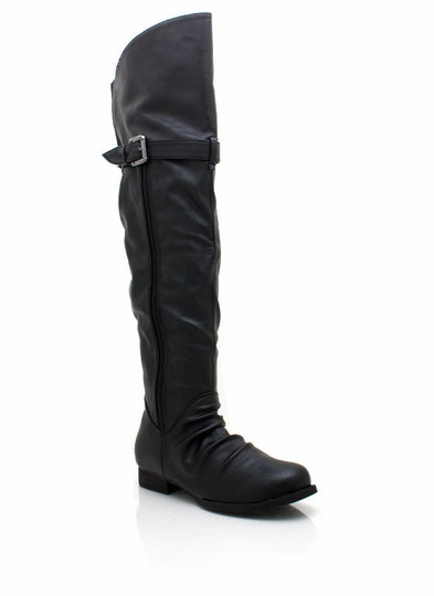 Faux Leather Zipper Riding Boots