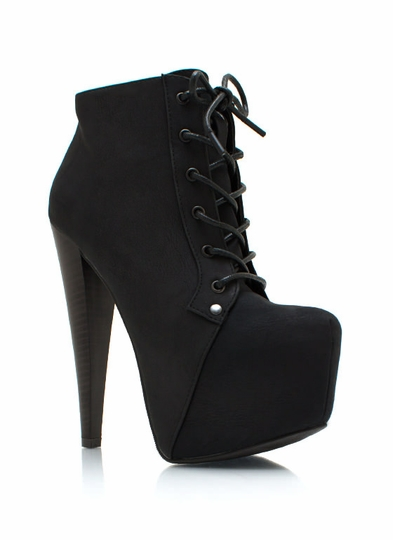 Faux Nubuck Lace-Up Boots