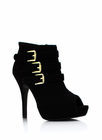 Faux Nubuck Triple Buckle Booties
