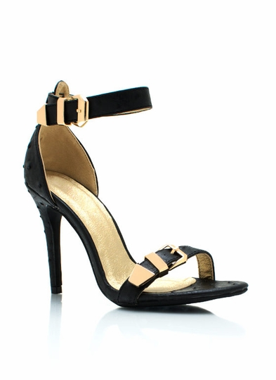 Faux Ostrich Double Buckle Heels