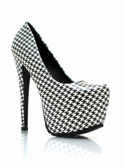 Faux Patent Houndstooth Pumps