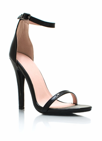 Faux Patent Single-Sole Heels