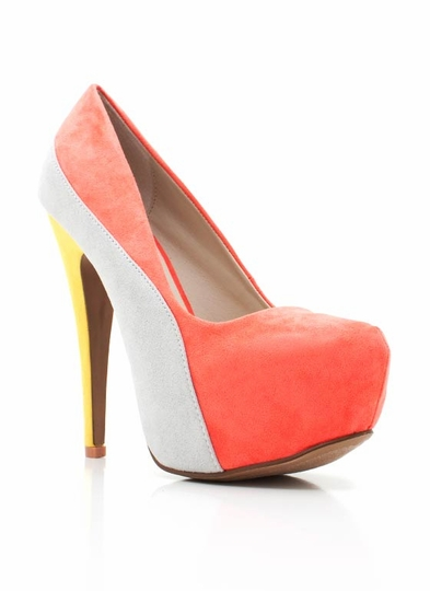 Faux Suede Colorblock Pump