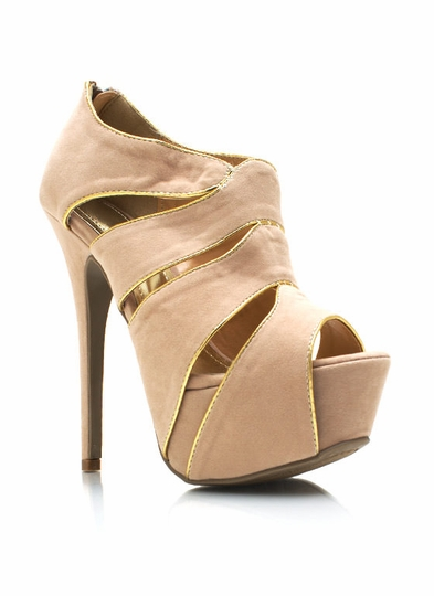 Faux Suede Cut-Out Heels