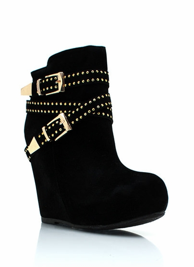 Faux Suede Double Buckle Booties