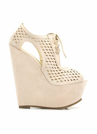 Faux Suede Laser Cut-Out Wedges