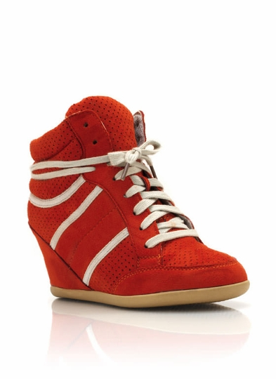 Faux Suede Wedge Sneakers