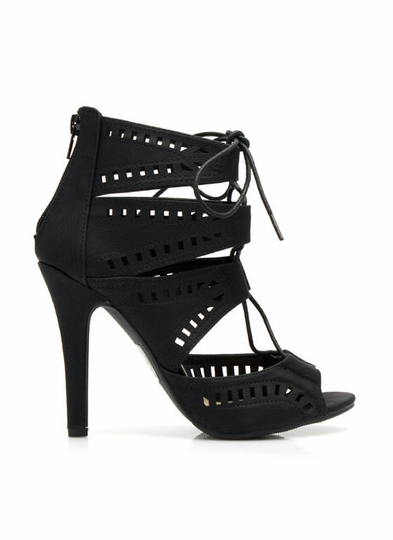 Film Feature Cut-Out Lace-Up Heels