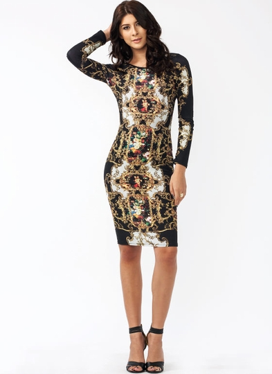 Fine Art Baroque Print Midi Dress