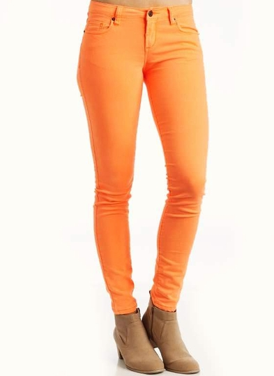 Five Pocket Neon Skinny Jeans