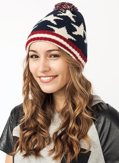 Flag Along Knit Pom-Pom Beanie